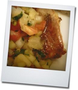 pineapple salsa and pork chop