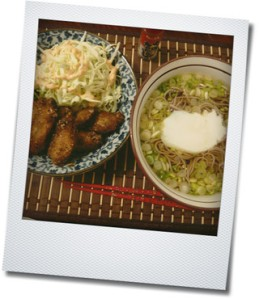 chicken wings and soba