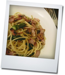 asparagus and bacon spaghetti