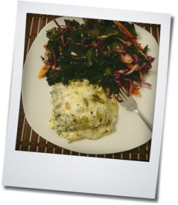 kale salad and pesto lasagna