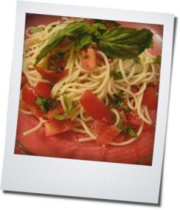 cold pasta close up
