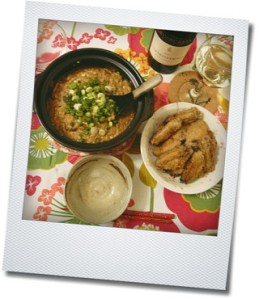 miso risotto and chicken wings