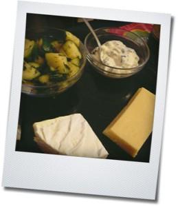 cheese, zucchini, spinach dip